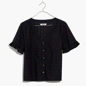 $75 MADEWELL Eyelet Village Ruffle-Sleeve Shirt S